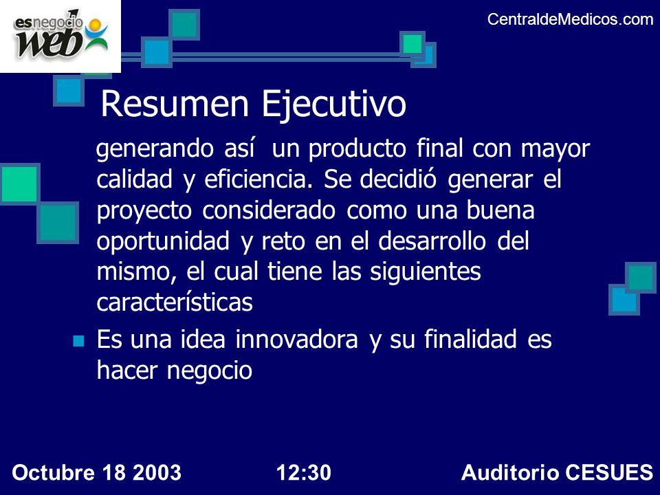 CentraldeMedicos.com Resumen Ejecutivo.