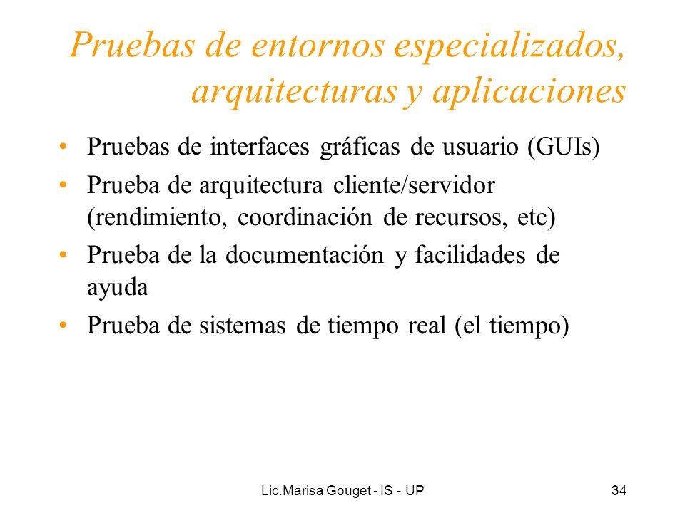 Pruebas de entornos especializados, arquitecturas y aplicaciones