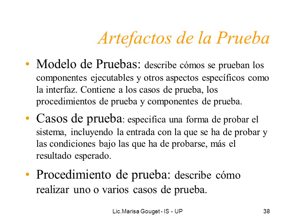 Artefactos de la Prueba