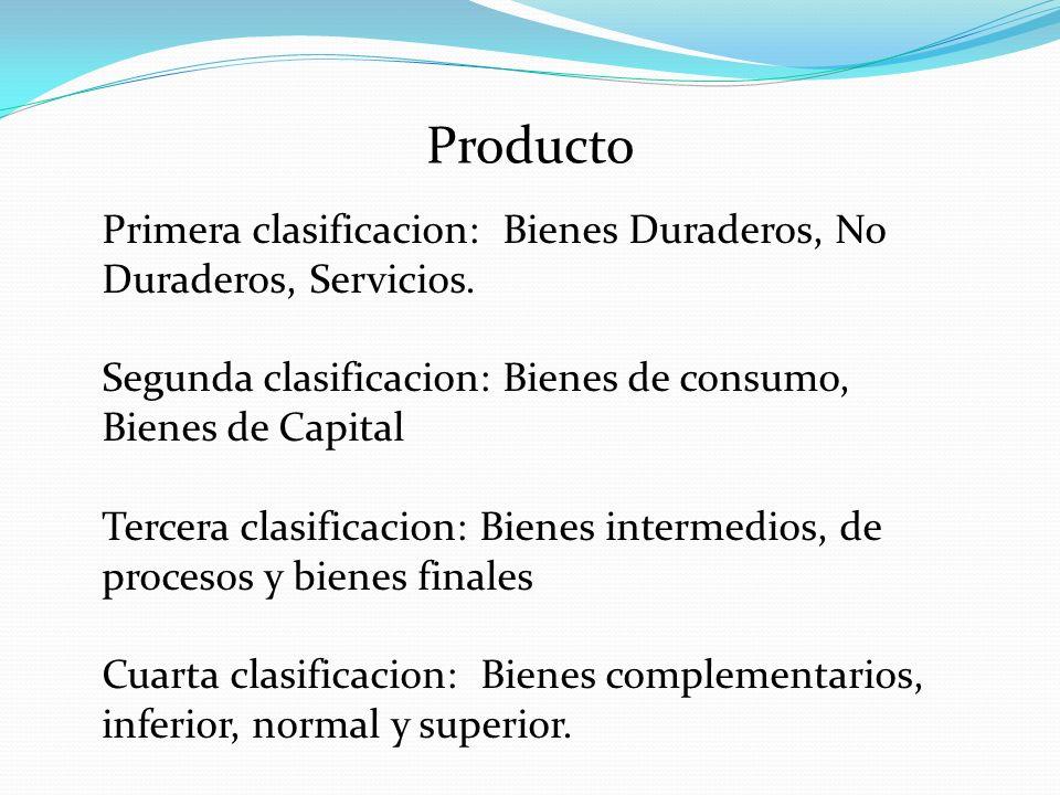 Producto Primera clasificacion: Bienes Duraderos, No Duraderos, Servicios. Segunda clasificacion: Bienes de consumo, Bienes de Capital.