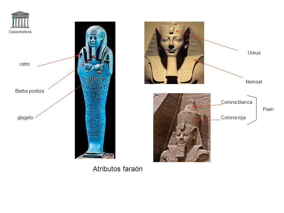 Atributos faraón Ureus cetro Nemset Barba postiza Corona blanca Psen