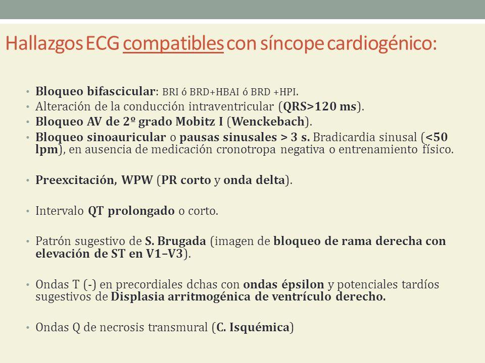 Hallazgos ECG compatibles con síncope cardiogénico: