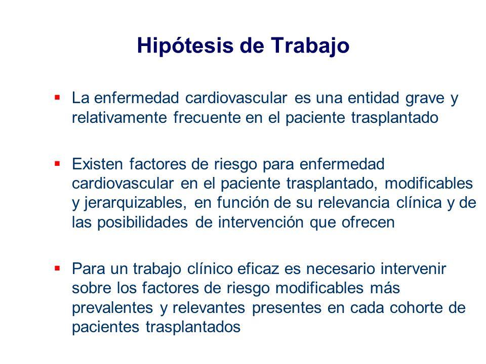 Hipótesis de Trabajo La enfermedad cardiovascular es una entidad grave y relativamente frecuente en el paciente trasplantado.