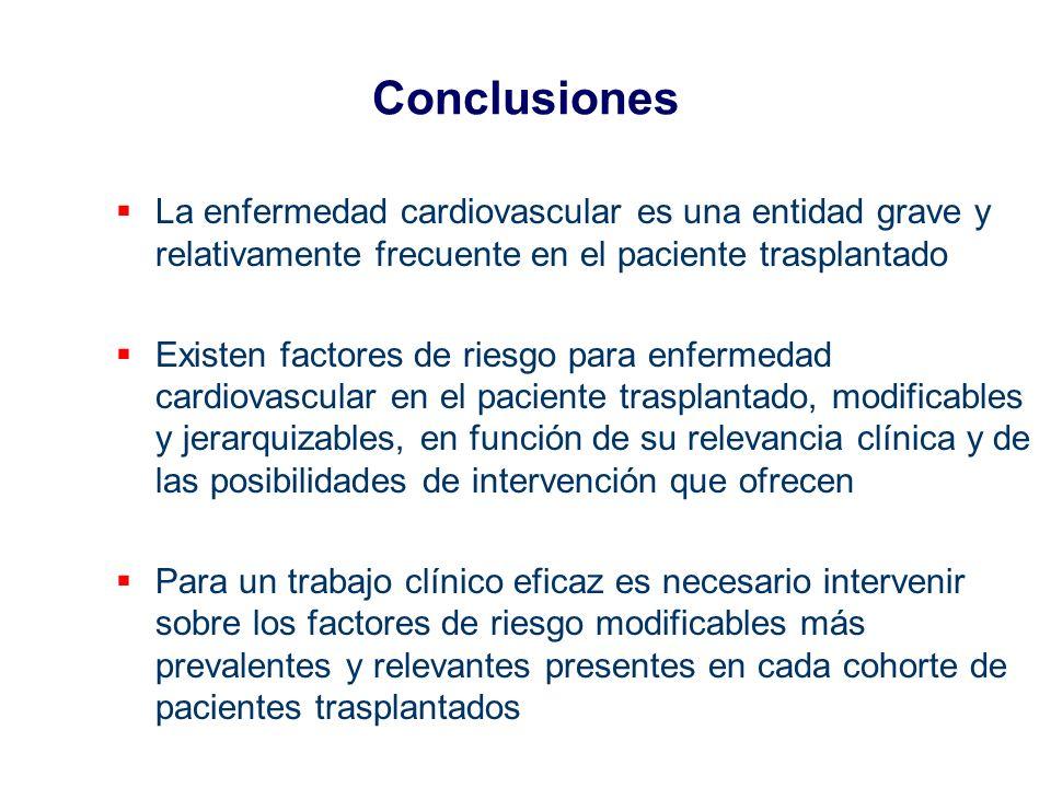 Conclusiones La enfermedad cardiovascular es una entidad grave y relativamente frecuente en el paciente trasplantado.