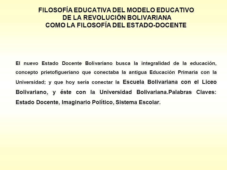 FILOSOFÍA EDUCATIVA DEL MODELO EDUCATIVO DE LA REVOLUCIÓN BOLIVARIANA