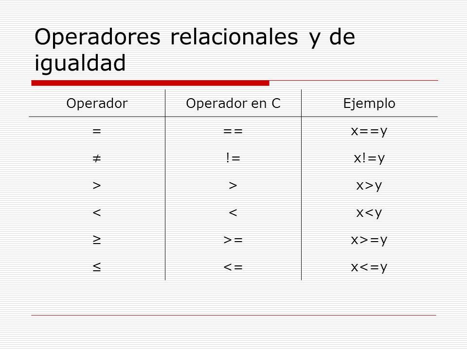 Operadores relacionales y de igualdad