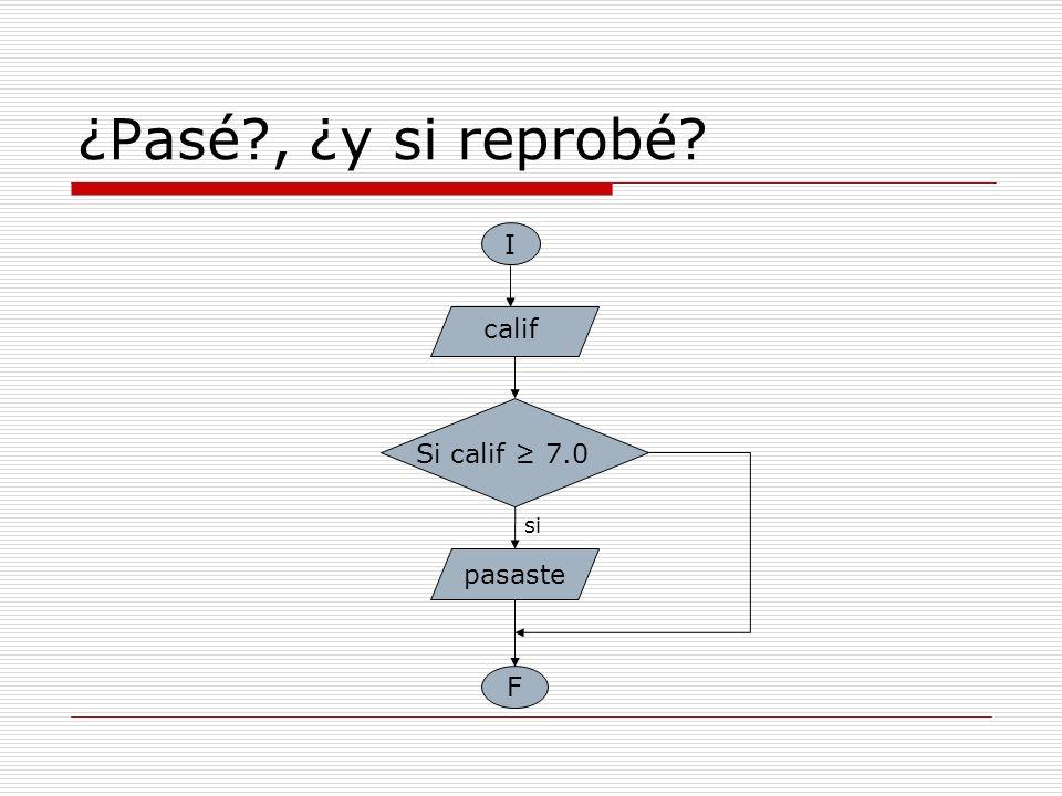 ¿Pasé , ¿y si reprobé I calif Si calif ≥ 7.0 si pasaste F