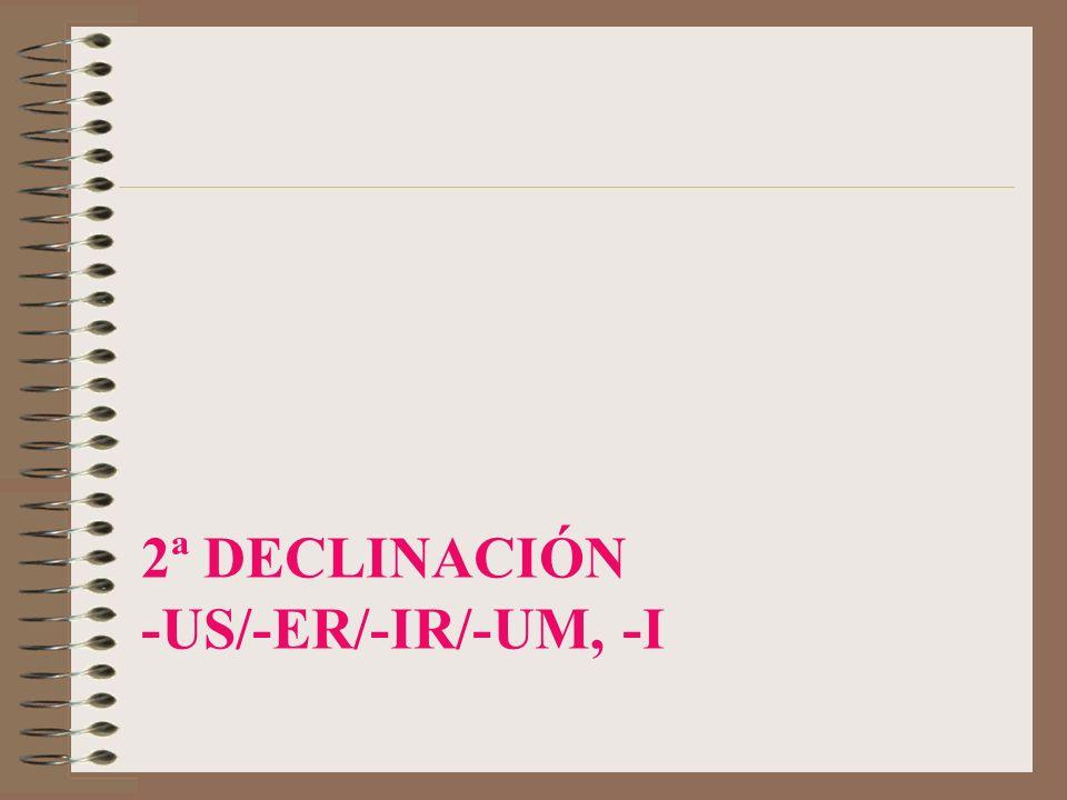 2ª Declinación -us/-er/-ir/-um, -i
