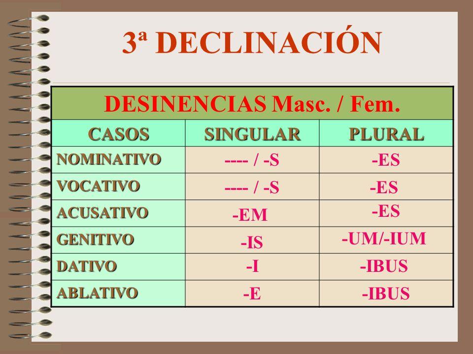 3ª DECLINACIÓN DESINENCIAS Masc. / Fem. CASOS SINGULAR PLURAL