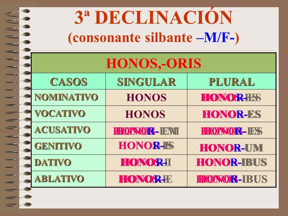 3ª DECLINACIÓN (consonante silbante –M/F-)