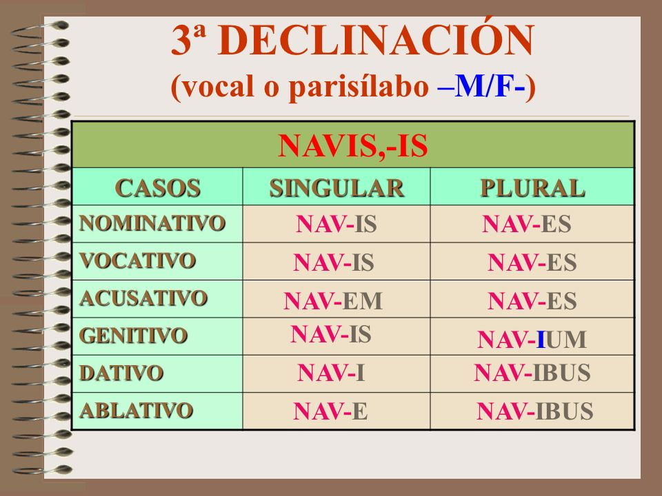 3ª DECLINACIÓN (vocal o parisílabo –M/F-)