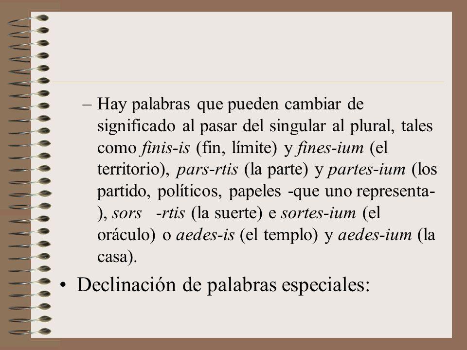 Declinación de palabras especiales: