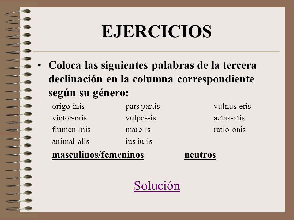 EJERCICIOS Coloca las siguientes palabras de la tercera declinación en la columna correspondiente según su género: