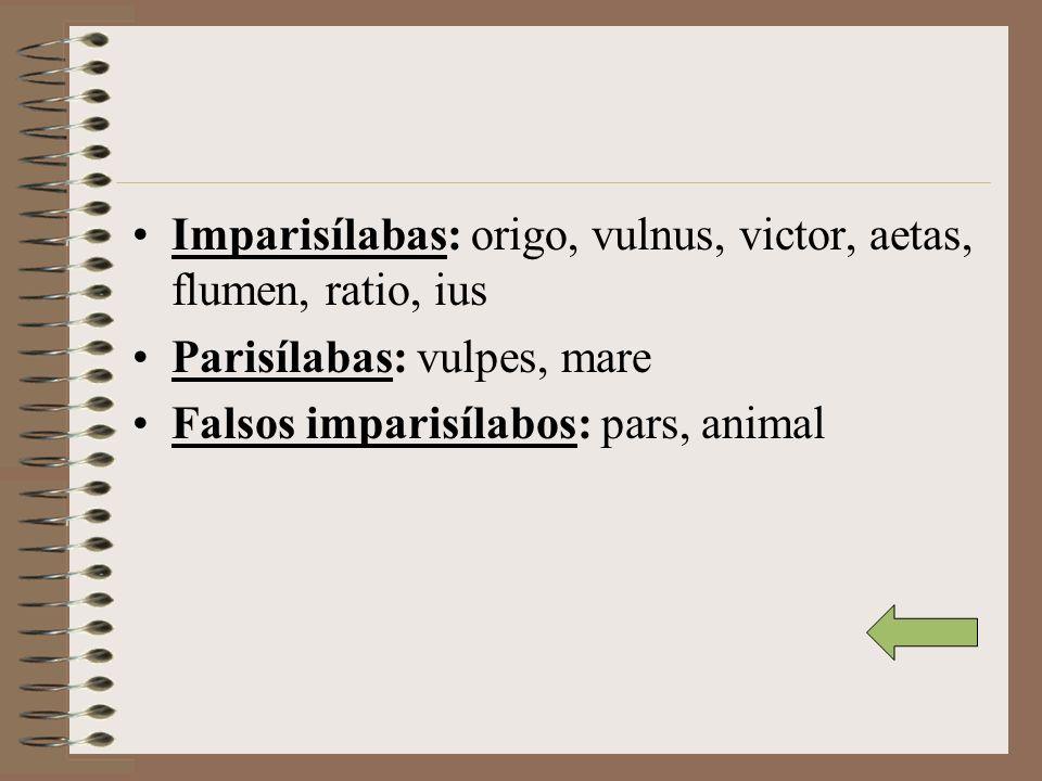 Imparisílabas: origo, vulnus, victor, aetas, flumen, ratio, ius