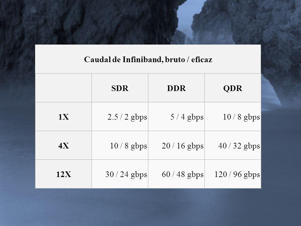Caudal de Infiniband, bruto / eficaz