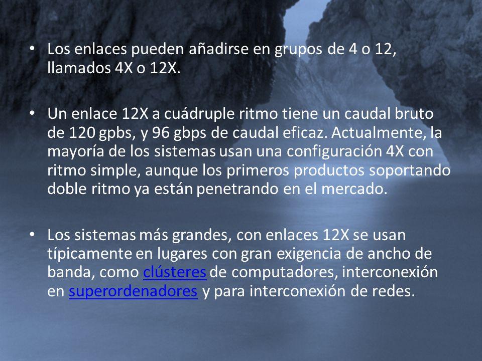 Los enlaces pueden añadirse en grupos de 4 o 12, llamados 4X o 12X.
