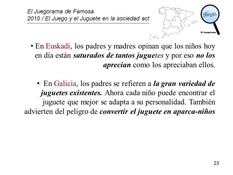 En Euskadi, los padres y madres opinan que los niños hoy en día están saturados de tantos juguetes y por eso no los aprecian como los apreciaban ellos.
