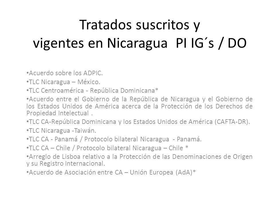 Tratados suscritos y vigentes en Nicaragua PI IG´s / DO