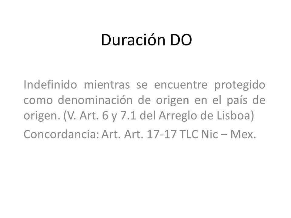 Duración DO Indefinido mientras se encuentre protegido como denominación de origen en el país de origen. (V. Art. 6 y 7.1 del Arreglo de Lisboa)
