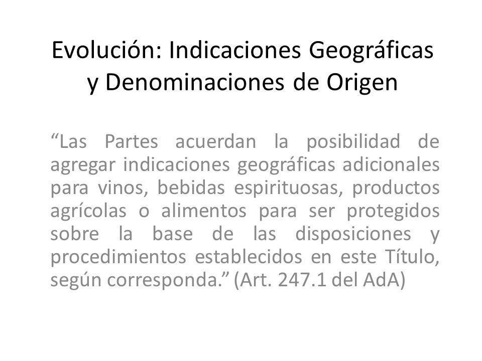 Evolución: Indicaciones Geográficas y Denominaciones de Origen