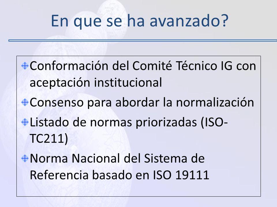 En que se ha avanzado Conformación del Comité Técnico IG con aceptación institucional. Consenso para abordar la normalización.