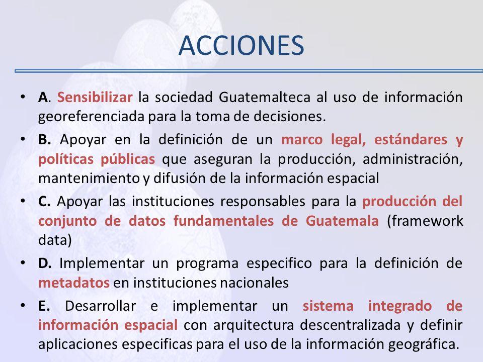 ACCIONES A. Sensibilizar la sociedad Guatemalteca al uso de información georeferenciada para la toma de decisiones.