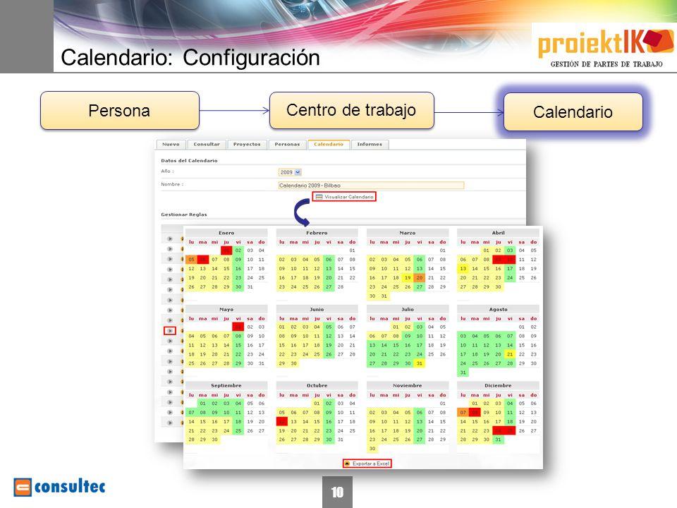 Calendario: Configuración