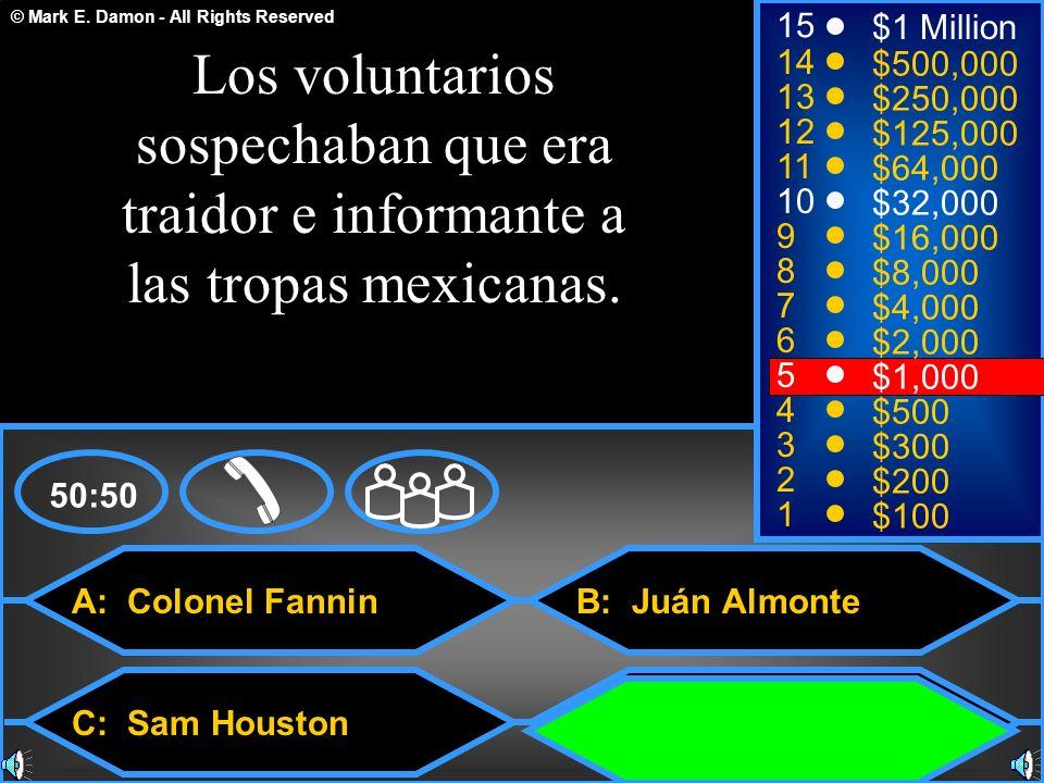 15$1 Million. Los voluntarios sospechaban que era traidor e informante a las tropas mexicanas. 14. $500,000.