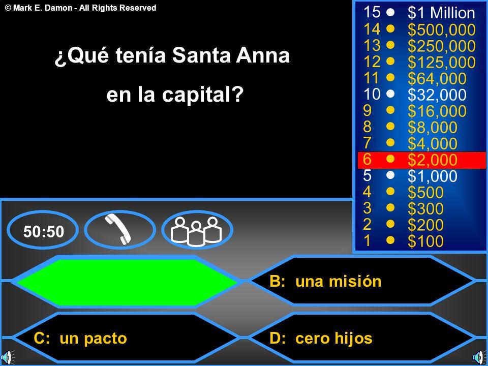 ¿Qué tenía Santa Anna en la capital