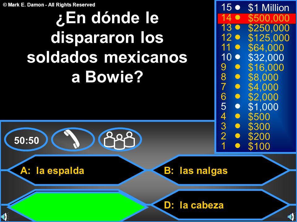 ¿En dónde le dispararon los soldados mexicanos a Bowie