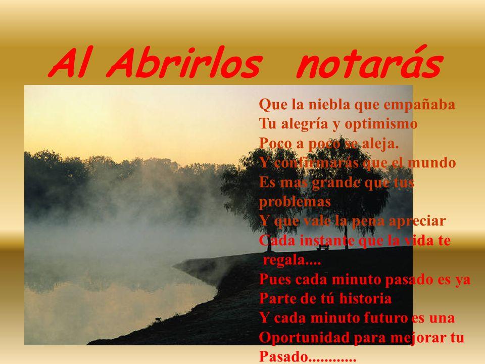 Al Abrirlos notarás Que la niebla que empañaba Tu alegría y optimismo