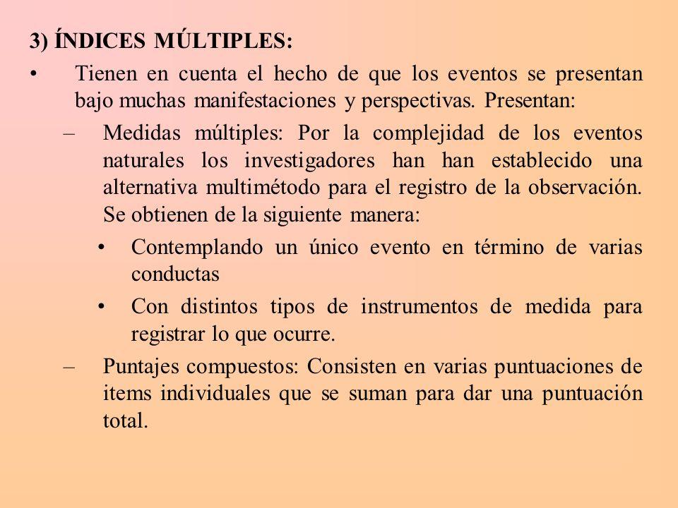 3) ÍNDICES MÚLTIPLES: Tienen en cuenta el hecho de que los eventos se presentan bajo muchas manifestaciones y perspectivas. Presentan: