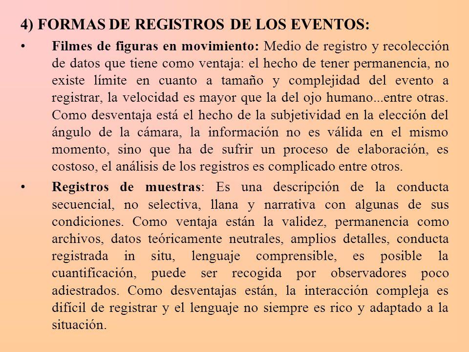 4) FORMAS DE REGISTROS DE LOS EVENTOS: