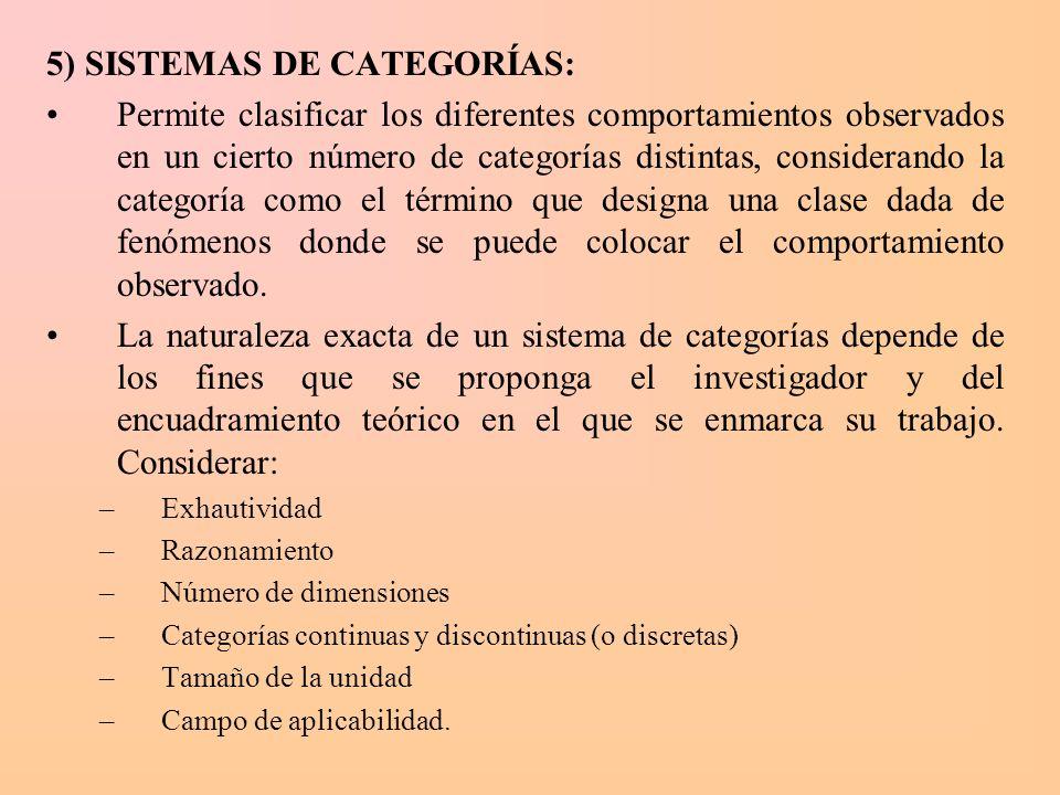 5) SISTEMAS DE CATEGORÍAS: