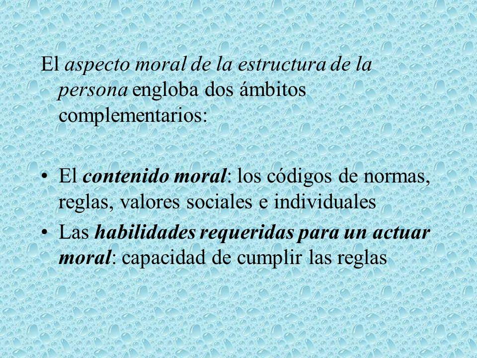 El aspecto moral de la estructura de la persona engloba dos ámbitos complementarios: