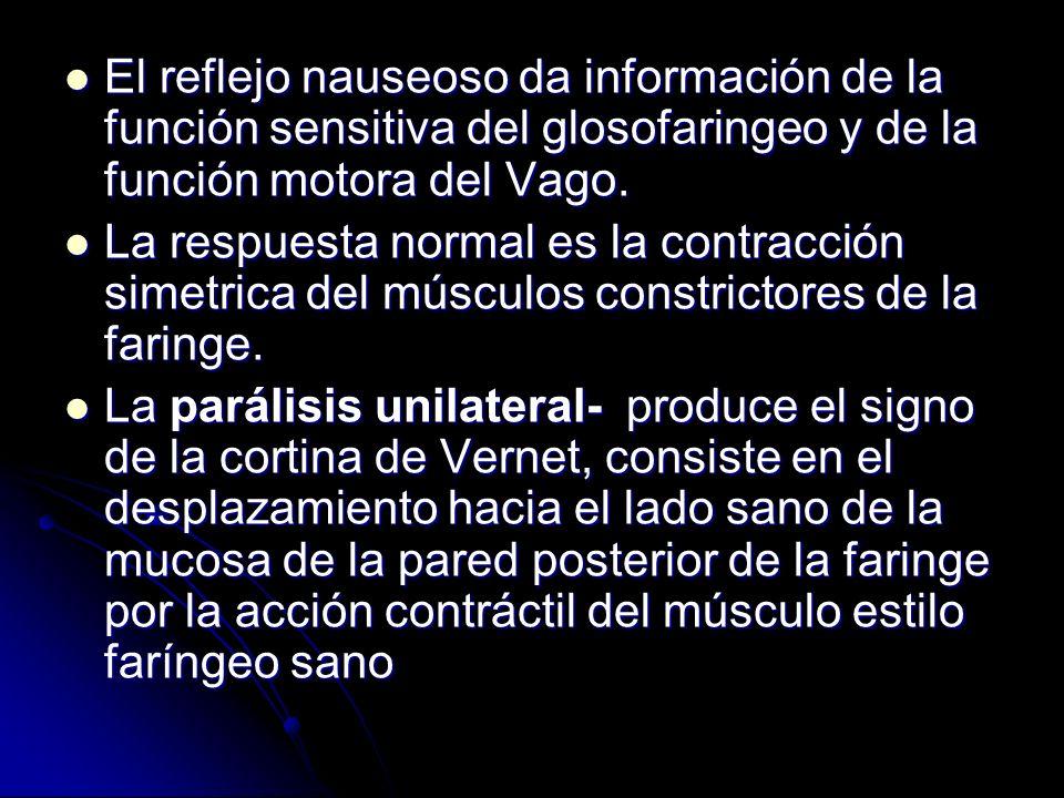 El reflejo nauseoso da información de la función sensitiva del glosofaringeo y de la función motora del Vago.