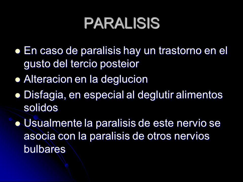 PARALISIS En caso de paralisis hay un trastorno en el gusto del tercio posteior. Alteracion en la deglucion.