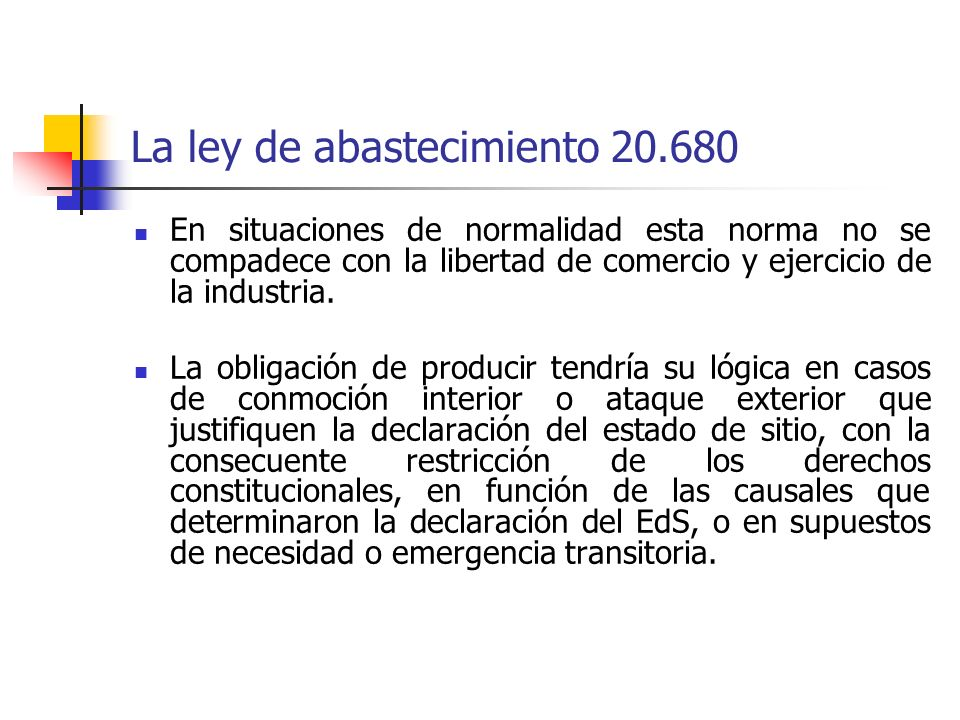 La ley de abastecimiento 20.680