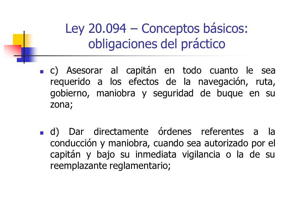 Ley 20.094 – Conceptos básicos: obligaciones del práctico
