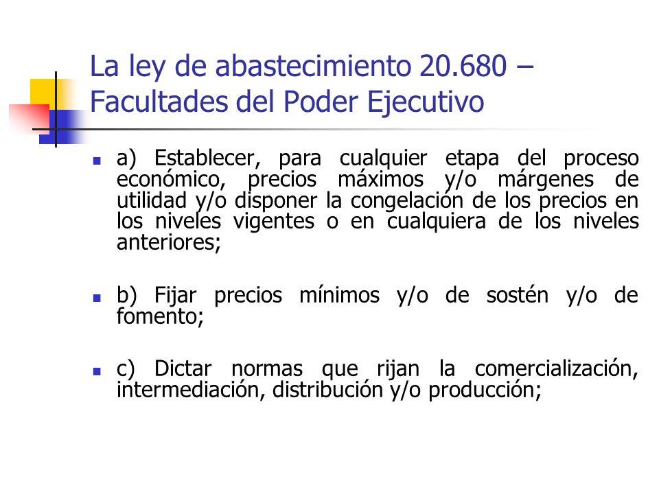 La ley de abastecimiento 20.680 – Facultades del Poder Ejecutivo