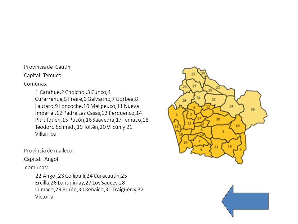 Provincia de Cautín Capital: Temuco. Comunas: