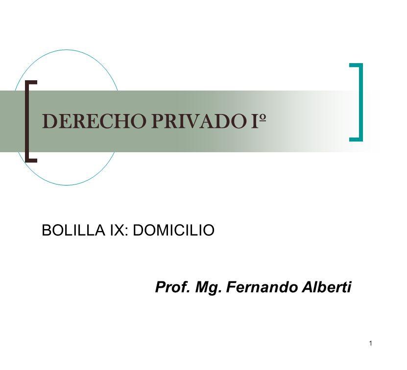 BOLILLA IX: DOMICILIO Prof. Mg. Fernando Alberti
