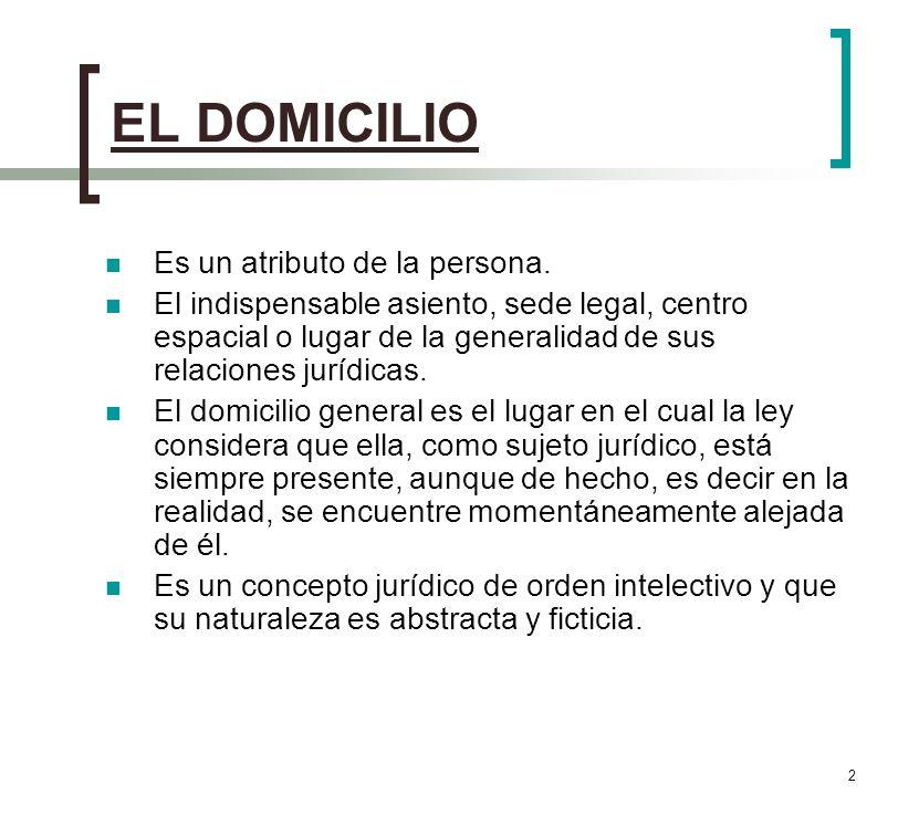 EL DOMICILIO Es un atributo de la persona.
