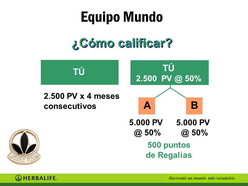 Equipo Mundo ¿Cómo calificar A B TÚ TÚ 2.500 PV @ 50%