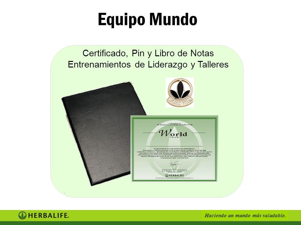 Equipo Mundo Certificado, Pin y Libro de Notas