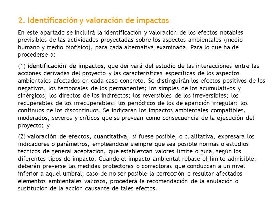 2. Identificación y valoración de impactos