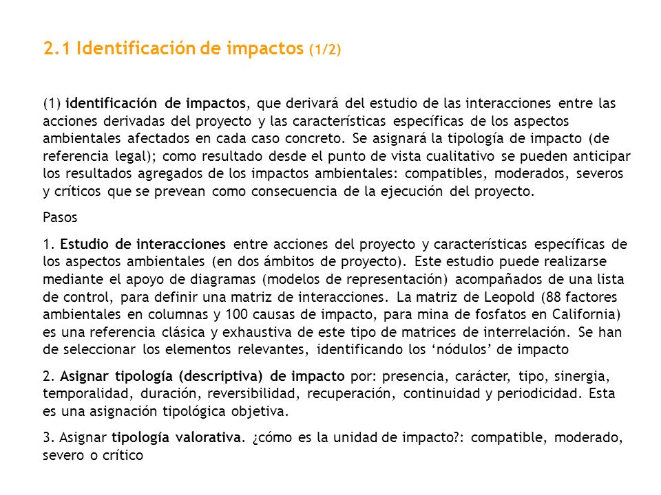 2.1 Identificación de impactos (1/2)
