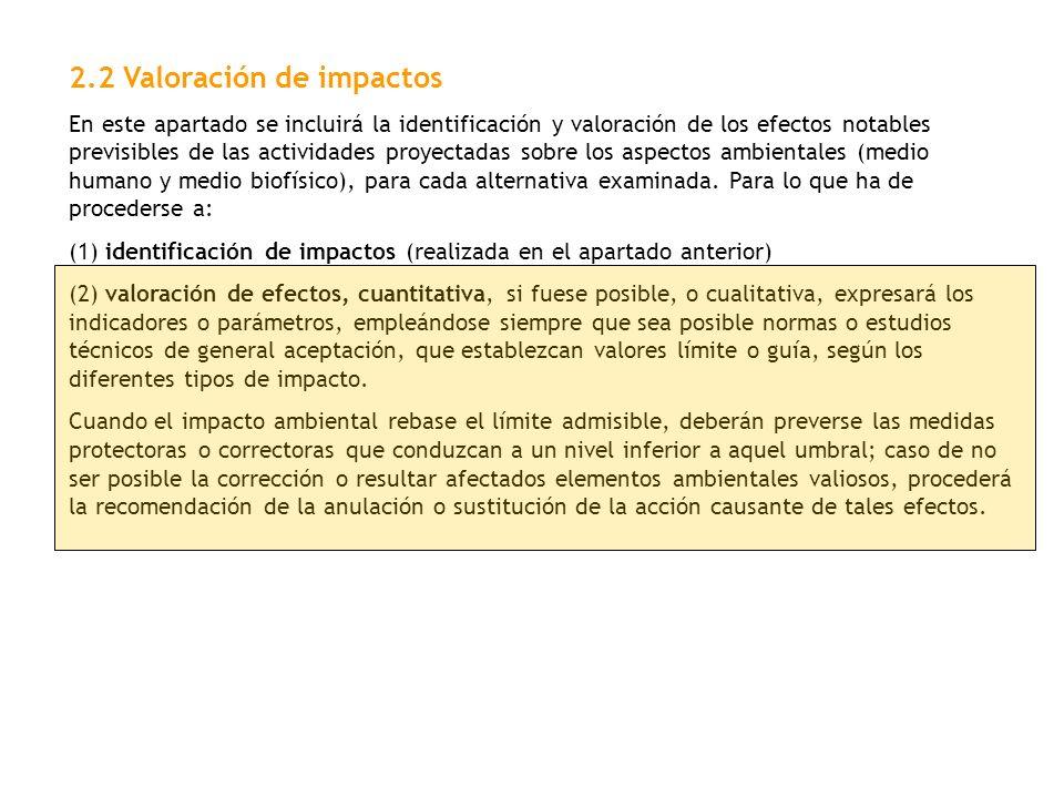2.2 Valoración de impactos
