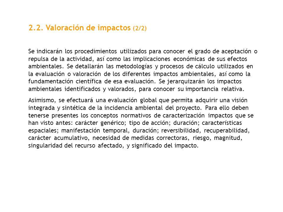2.2. Valoración de impactos (2/2)