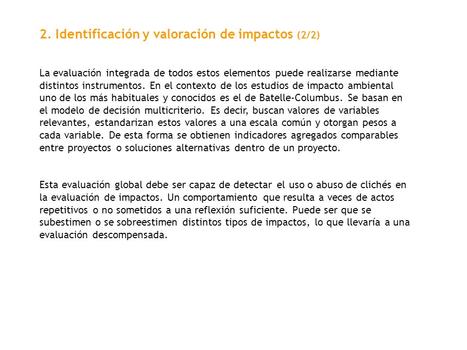 2. Identificación y valoración de impactos (2/2)